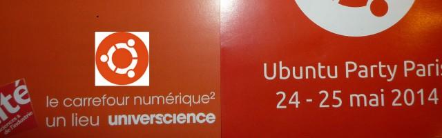 Logo d'Ubuntu et flayers de l'Ubuntu Party de mai 2014 à Paris