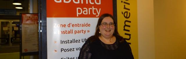Photo de Marianne Lombard, administratrice systèmes et réseaux, à l'Ubuntu Party du mois de mai 2014 à Paris