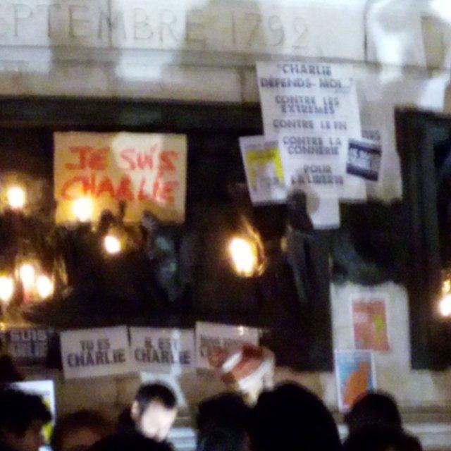 La République est Charlie, 7 janvier 2015, Place de la République, Paris