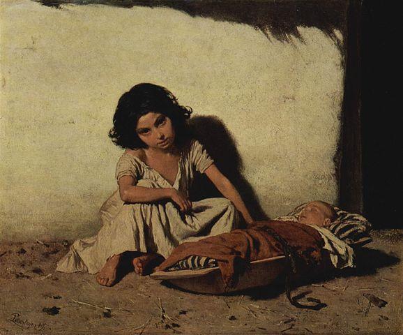 Deux enfants tziganes, August von Pettenkofen, huile sur toile 22cm × 27cm, musée de l'Ermitage de Saint-Pétersbourg (1855)