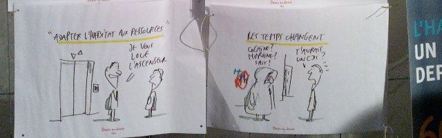 Dessins humoristiques photographiés sous le chapiteau de la Nuit Solidaire, 12 février 2015, Paris