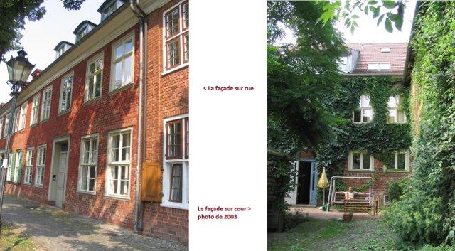 Réhabilitation d'un immeuble classé du 18è siècle à Postdam : à gauche, la façade sur rue, en 2003, à droite la cour, utilisé en commun