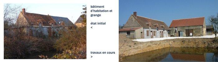 Réhabilitation lourde de la ferme, de 1850, à Montcorbon, dans le Loiret : à gauche, la maison principale, en février 2011, à droite, l'ensemble en mars 2012, travaux en cours