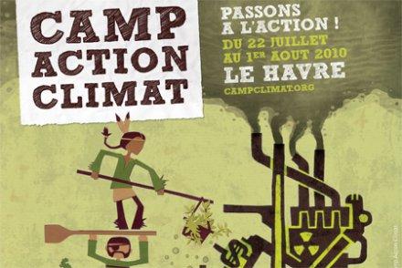 Affiche promouvant le camp Action Climat du Havre en 2010. Source terraeco.net. Graphisme WYZ et Collectif Camp Action Climat
