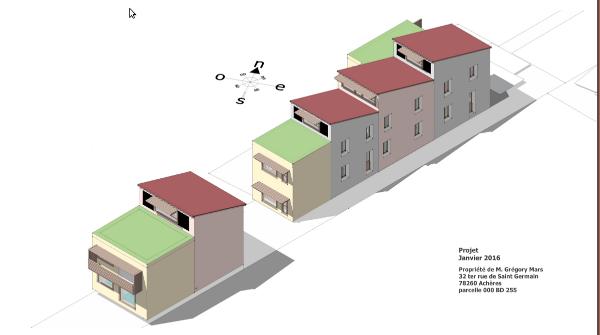 Axonométrie du projet, par Grégory Mars. Les parties noires dans les parties verticales des sheds, à gauche et à droite des fenêtres, représentent l'emplacement de panneaux solaires thermiques.
